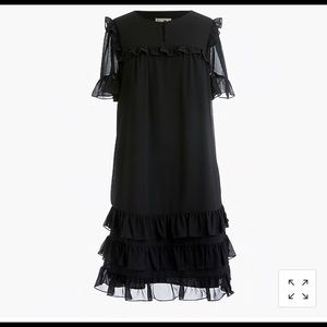 Point Sur Ruffle Dress in Crinkle Chiffon BLACK